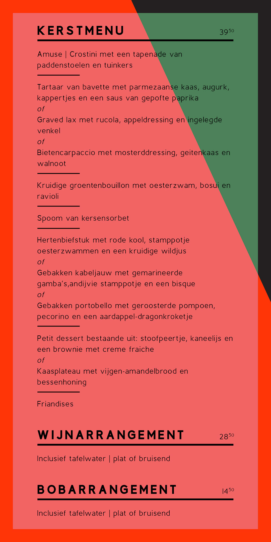 Kerst | Menu | Restaurant Het Magazijn | Dordrecht